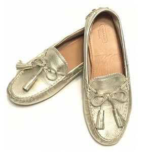 Coach Nadia Metallic Gold Driving Loafers